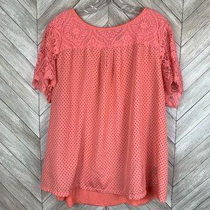 Worthington woman peach silk, lace, cotton blouse